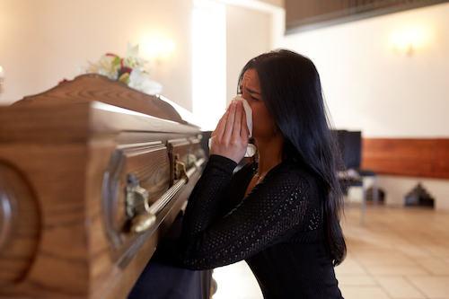 woman crying in church